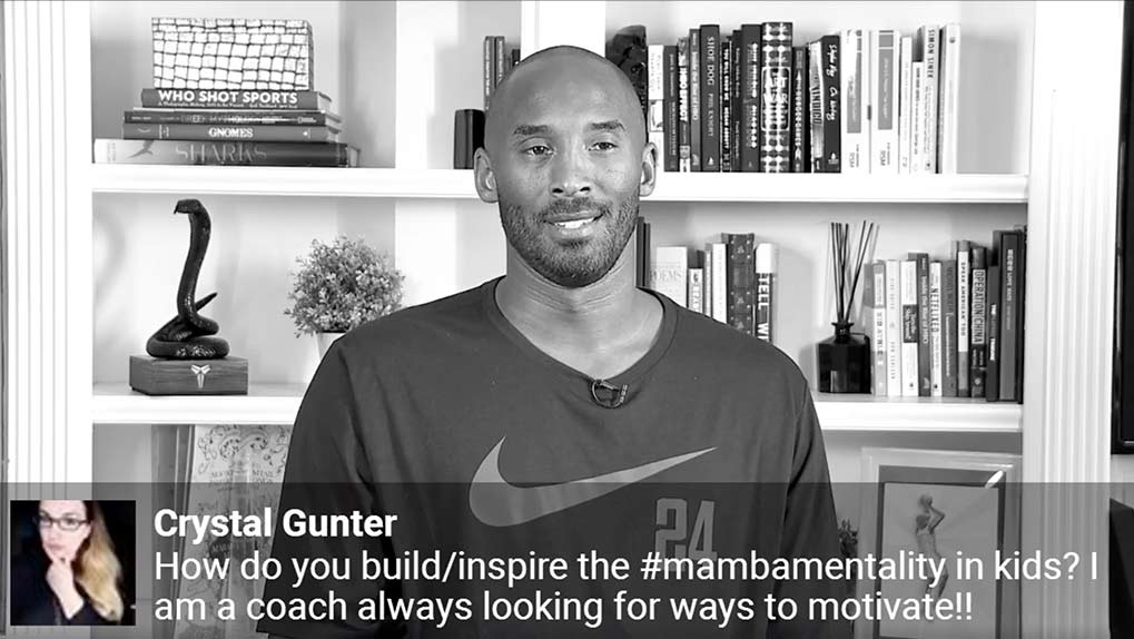 Kobe Bryant answering question displayed on live stream
