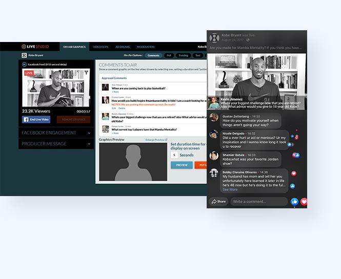 Kobe Bryant live stream mobile view and in live studio platform